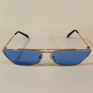 Other - Gold/Blue Futuristic Cateye Sunglasses